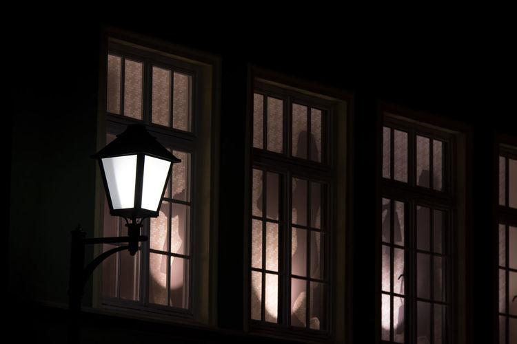 Lighting Equipment Illuminated Window Electric Lamp Dark Indoors  No People Glass - Material Night Light Street Light Street Electric Light Low Angle View Electricity  Transparent Home Interior Built Structure Architecture Ilmenau