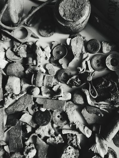 Metal partifacts Buttons And Buttons History Hauweip20pro Time Traveler Of The Past Junk Scrap Metal Onemansjunkisanothermanstreasure Backgrounds Full Frame Close-up Chaos Tangled Messy Intertwined Leftovers Worn Out Discarded Still Life Various