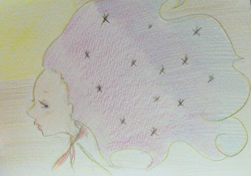 Illustration イラスト 女の子 Gradation グラデーション 星 Star 髪 Hair