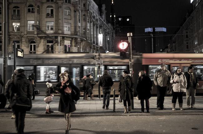 Crossing The Street Frankfurt Am Main Lightsign Red Woman Adult Illuminated Night People Real People Redlight Street Walking Women