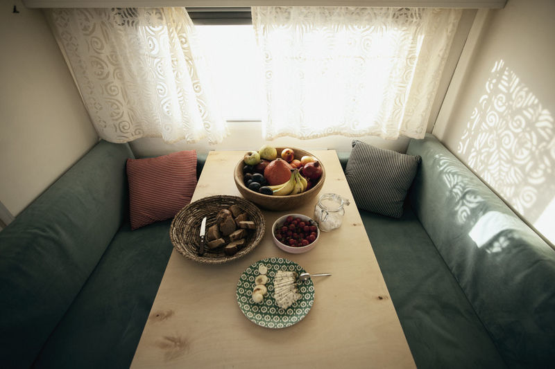 High angle view of breakfast on table at home