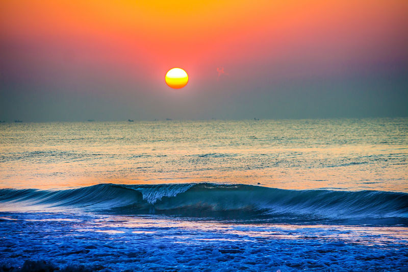 when time stops Astronomy Beach Beauty In Nature Day Horizon Over Water Idyllic Landscape Nature No People Orange Color Outdoors Reflection Scenics Sea Sea And Sky Seascape Sky Sun Sunlight Sunset Tranquil Scene Tranquility Vibrant Color Water Wave