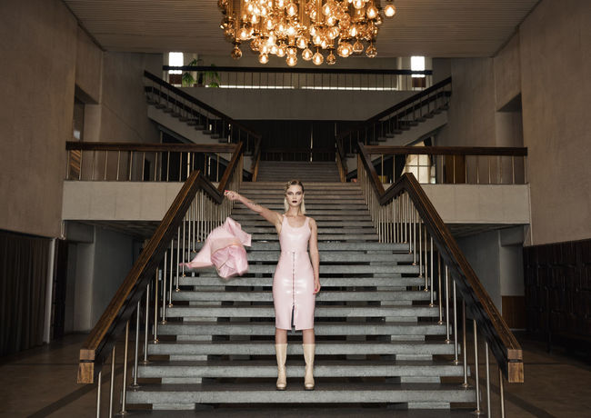 Smooth Confess Blonde Latex Dress  Lights Linas Was Here Old School Stairs Chandelier Girl Hall Interior Model Pink Dress Post Soviet