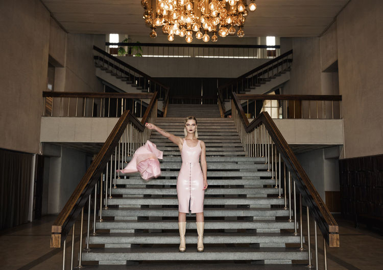 Smooth Confess Blonde Latex Dress  Lights Linas Was Here Old School Stairs Chandelier Girl Hall Interior Model Pink Dress Post Soviet The Modern Professional