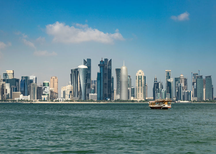 Sky Water Built Structure Architecture Building Exterior City No People Outdoors Doha Qatar Corniche Dhaw Sambuk Westbay Skyline Sea Gulf