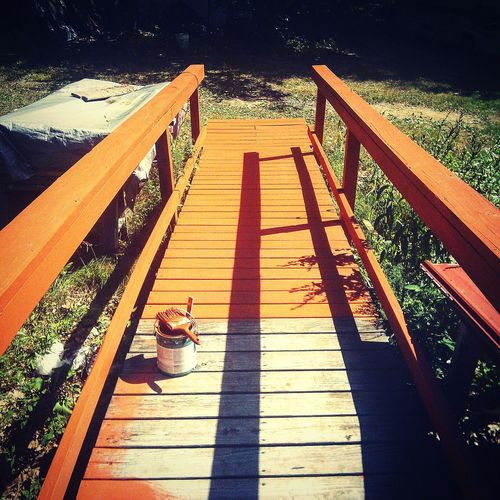 Paint Ramp Porch Orange Orange Paint Paintbrush Hot Work Painting Bucket Half Half Finished Not Done Yet Not Done Bright Color Colors Outside Renovation