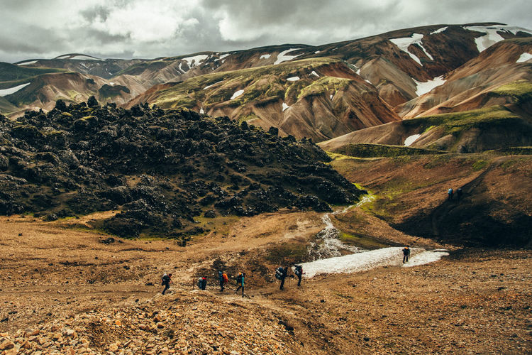Hiking Iceland Adventure Beauty In Nature Cloud - Sky Day Highlands Landmannalaugar Landscape Mountain Nature Outdoors People Real People Scenics Sky