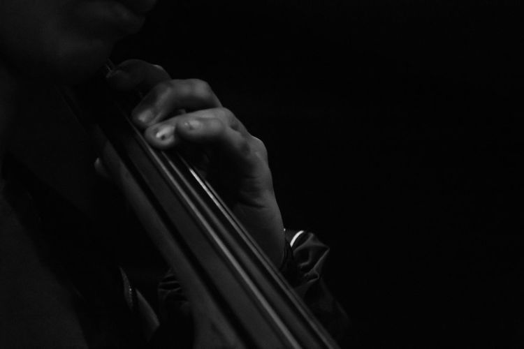 Close-up of man playing string instrument against black background