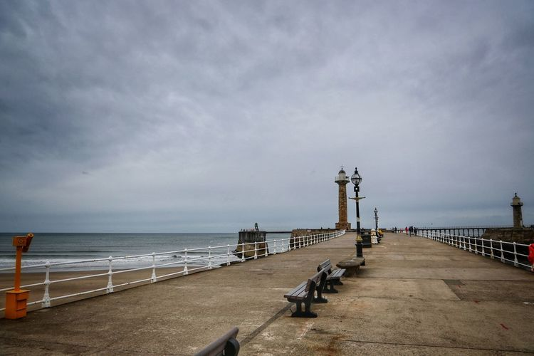 Whitby Whitby Whitby Abbey Water Sea Sky Cloud - Sky Horizon Nature Direction The Way Forward Horizon Over Water Built Structure Pier Architecture Scenics - Nature Railing Transportation Day Outdoors Footpath No People Promenade Long