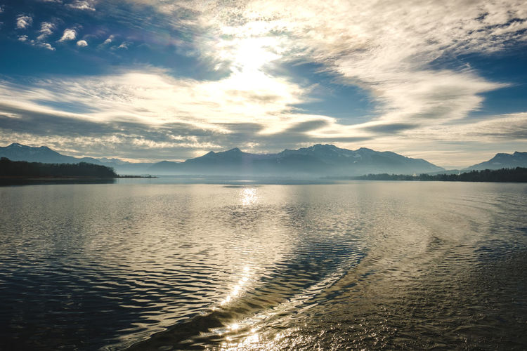 Beauty In Nature Sky Scenics - Nature Mountain Water Tranquil Scene Cloud - Sky Tranquility Idyllic Nature Mountain Range Sunset No People Reflection Non-urban Scene Sunlight Lake Land Chiemsee