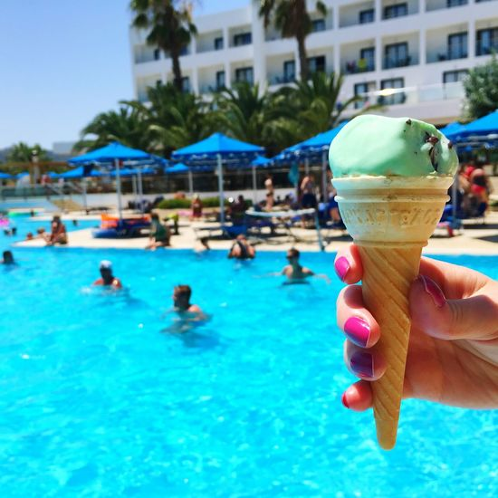 Ice Cream POV Ice Cream On The Swimming Pool Hand Swimming Pool Hotel Eating Sweets First Person View Detail Food Porn Colour Of Life Party Focus Object Enjoy The New Normal My Year My View