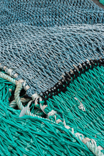 Filets de pêche Blue Bretagne Brittany Finistere Fish Nets Harbor Harbour Pattern Port Turquoise Colored