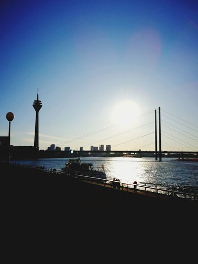 Düsseldorf Fersehturm Rhein Rheinbrücke Sunday Walking Sunshine Sky Water Sunset Silhouette No People Sea Travel Destinations