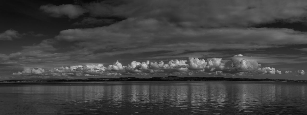 A view across the Firth of Forth towards Fife. Beauty In Nature Blackandwhite Cloud - Sky Edinburgh Firth Of Forth Landscape Monochrome Nature Outdoors Scotland Sea Sky Water Waterfront