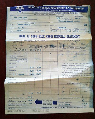 Old Hospital Bill 1950s 1950s Bill