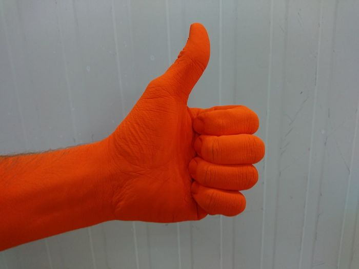 Thumbs Up ! Thumbs Up Orange Color Human Hand Human Body Part Red Human Arm One Person Close-up Adults Only Indoors  People Adult Orange Positive Positive Sign Good EyeEm Diversity Break The Mold