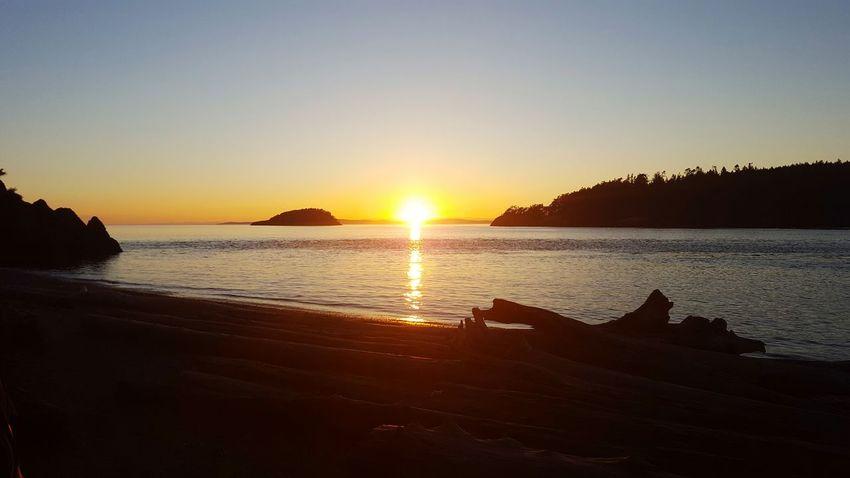 Sunset Water Sea Tranquil Scene Beach Nature Shore Sun Washington Washington State Deception Pass Whidbey Island Idyllic