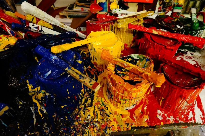 Close-Up Of Messy Paint