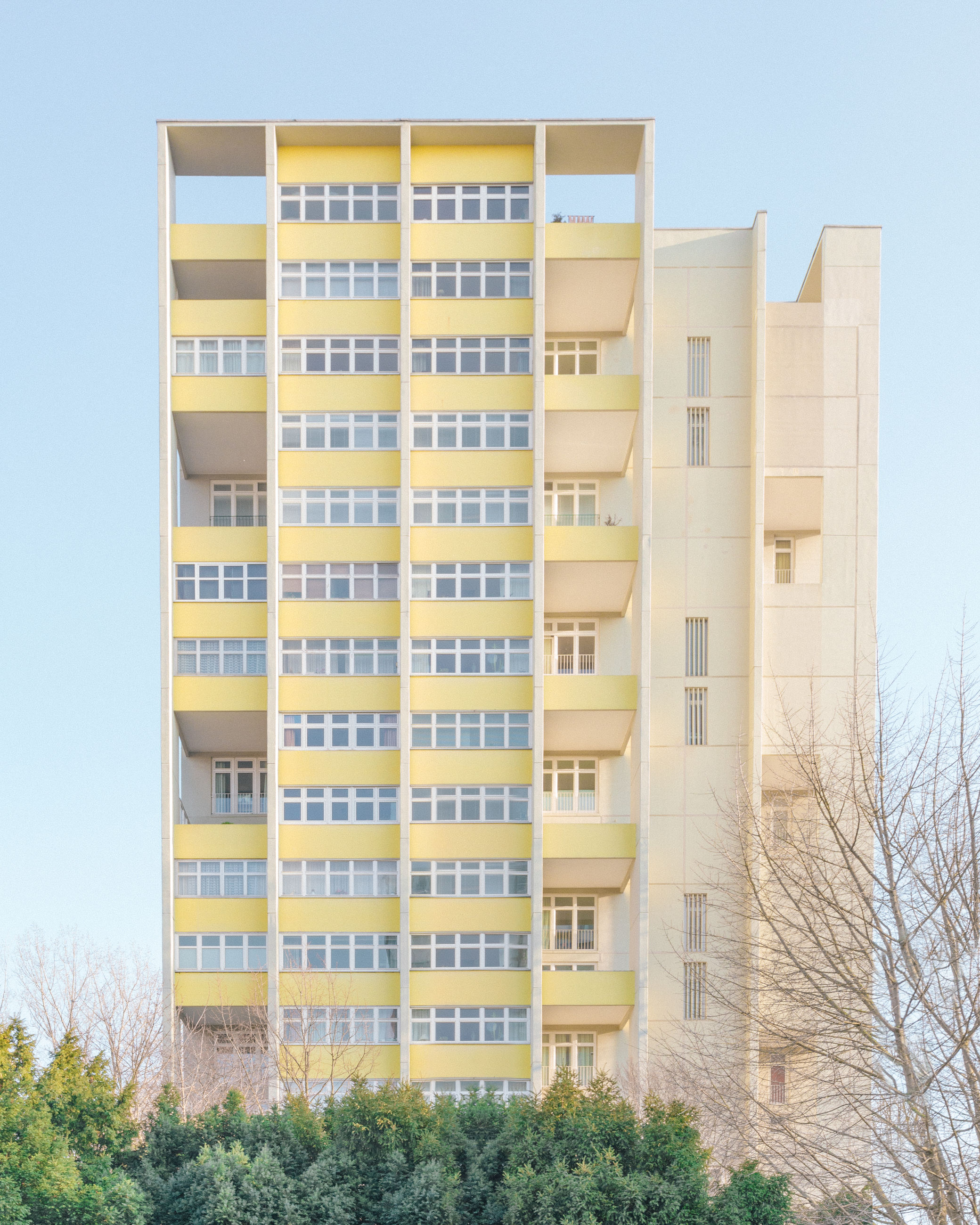 building exterior, architecture, built structure, no people, sky, building, plant, nature, tree, day, low angle view, clear sky, residential district, window, modern, city, outdoors, apartment, office building exterior, office