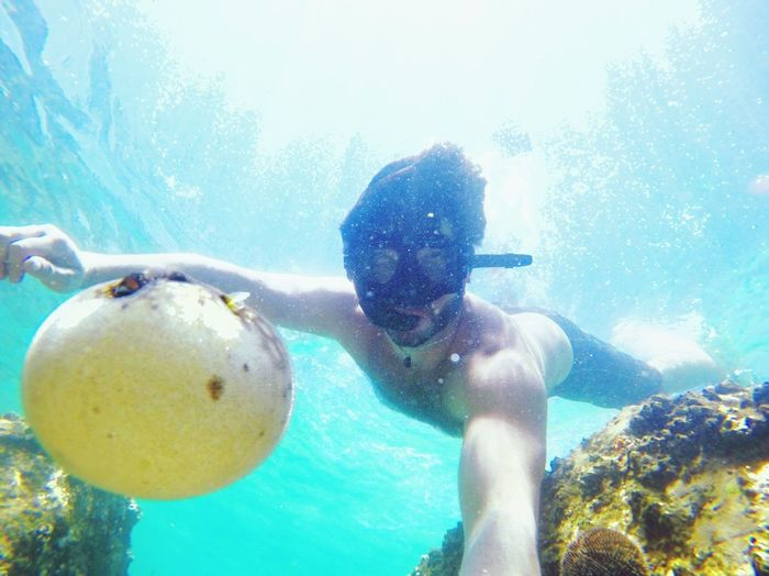 EyeEmNewHere Underwater Real People Leisure Activity One Person Bubble Swimming Adventure UnderSea Swimming Goggles Full Length Day Underwater Diving Water Scuba Diving Young Adult Shirtless Nature Outdoors People