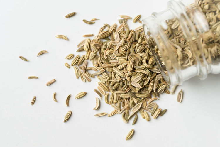 Fennel Seeds Spilling from Spice Jar Food And Drink Indoors  White Background Seed No People High Angle View Close-up Spice Ingredient Herb Fennel Seeds Top View Nobody Macro