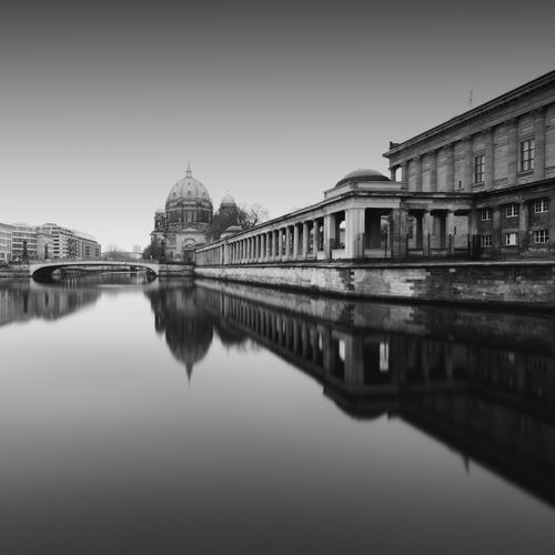 Cathedral   Berlin (2017) Reflection Architecture Building Exterior Built Structure Water Waterfront Outdoors No People City Sky Day Nature EyeEm Best Shots EyeEm Best Shots - Black + White Longexpoelite Tranquility Tranquil Scene Longexposurephotography EyeEm Best Edits EyeEm Blackandwhite Black And White Long Exposure Welcome To Black Fine Art Photography Welcome To Black The Architect - 2017 EyeEm Awards The Week On EyeEm Black And White Friday