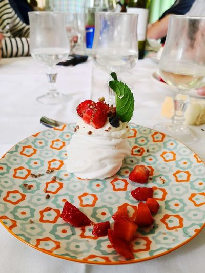 Pavlova Cake Frozen Food Cold Temperature Fruit Dessert Drink Drinking Glass Table Raspberry Water Close-up Strawberry
