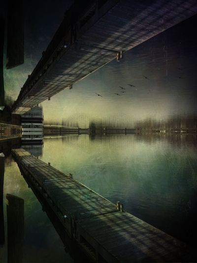 On the rivers edge Fantasy IPhoneography Getting Creative Tadaa Community Water Reflection Nature Tranquility No People Built Structure Waterfront Textured Effect Symmetry Outdoors The Creative - 2019 EyeEm Awards