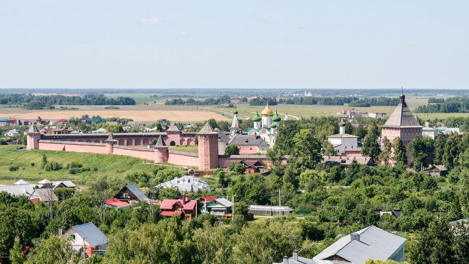 View of the Saviour Monastery of St. Euthymius from the bell tower High Angle View Russia. Suzdal Ancient Architecture City Cityscape Day Dome Golden Ring Landmark Monastery No People Ortodox Outdoors Panorama Russia Suzdal Unesco Golden Ring Of Russia Neighborhood Map