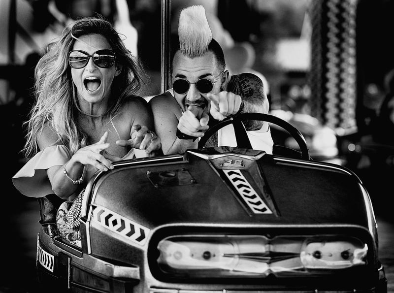 fun Black & White Black And White Fun Park Fun Young Bump Cars Love Young Couple Adventure Time Life Ekspression Arts Culture And Entertainment Close-up Amusement Park