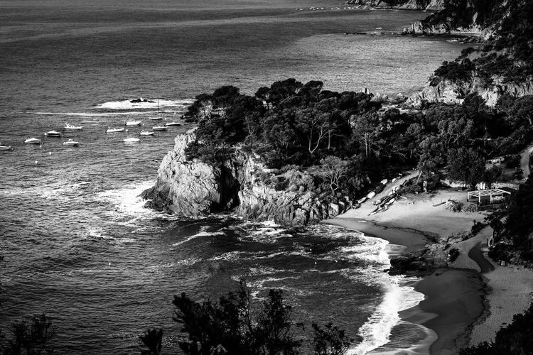 Land Nature Day Outdoors Beach Water Sea Rock No People Rock - Object Waterfront Beauty In Nature Solid Motion Scenics - Nature Rock Formation Tranquility High Angle View Tranquil Scene Rocky Coastline Ocean Coastline Aerial View Blackandwhite Black And White Stay Out