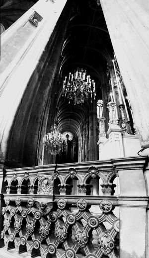 Religion Place Of Worship Architecture Spirituality Window History Day Built Structure No People Sculpture Indoors  Sainteustache Paris, France  Gothic Architecture Church