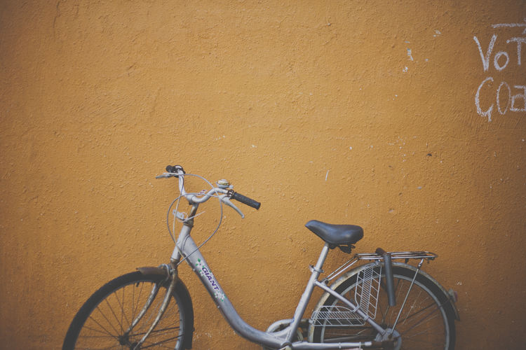 Bicycle Bicycles Cycle Hong Kong Land Vehicle Mode Of Transport No People Orange Orange Wall  Outdoors Parked Stationary Transportation Wall