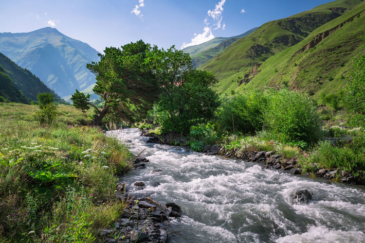 Scenic view of river flowing by mountains against sky