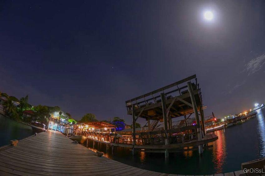 Full Moon Utila Utila ♡ Honduras Nightphotography Stars Long Exposure Ocean Caribbean Fisheye