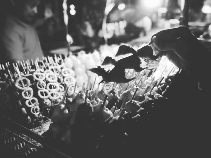 One of many Filipino Delicacies Onedayoldchicken Streetfood Blackandwhite Photography Night Market Baguio No People Chick Chicken On A Stick