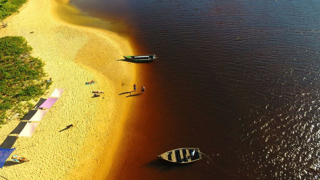 Rio Caraíva em um belo dia de sol Caraiva Bahia Brazil River Boat Sky Drone  Dronephotography Aerial Shot Aerial Photography Beach Paradise High Angle View Sand Outdoors Water No People Nature Yellow Aerial View An Eye For Travel