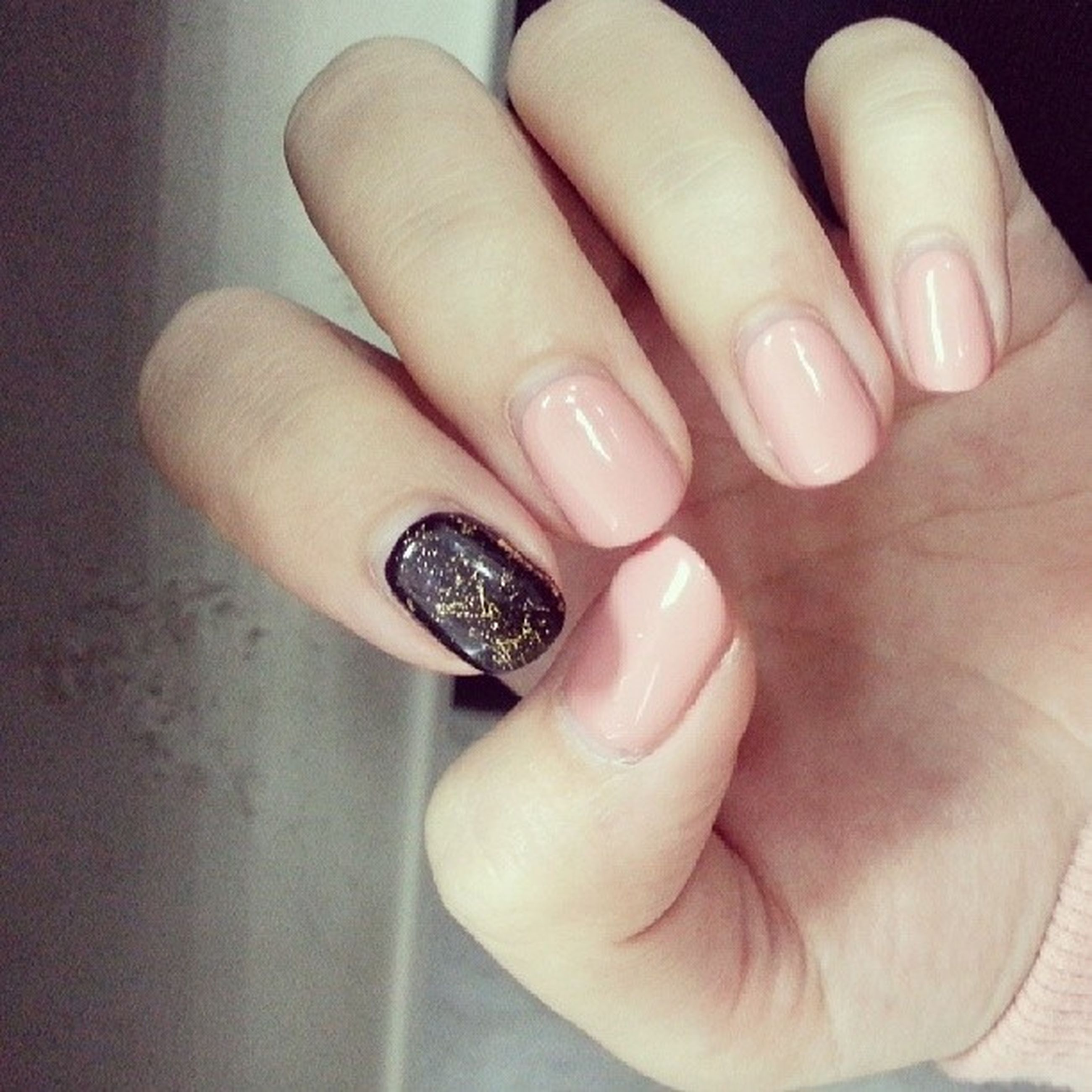 person, part of, human finger, holding, indoors, cropped, close-up, personal perspective, unrecognizable person, high angle view, ring, lifestyles, nail polish, food and drink, showing, palm