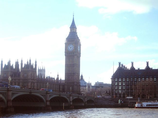 London Bigben Thames England Uk View Urban Landscape Famous Place
