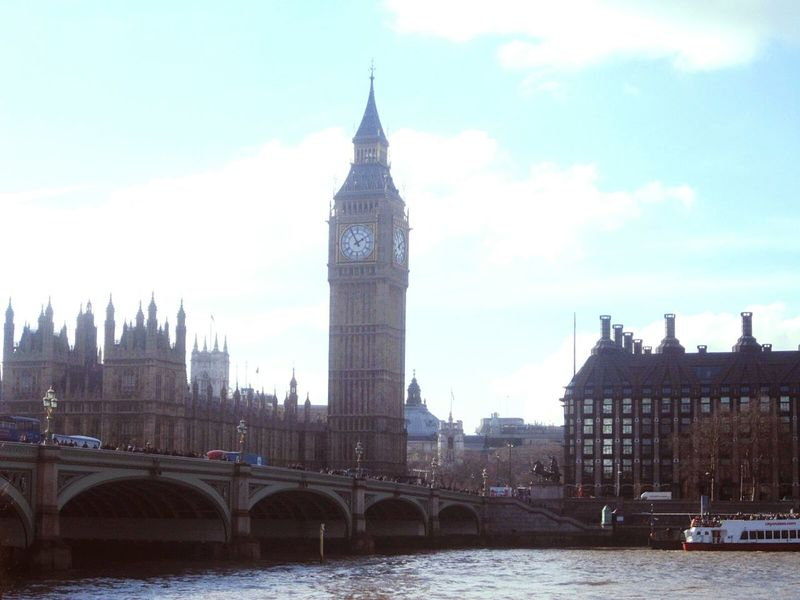 London Bigben Thames England Uk View Urban Landscape Famous Place
