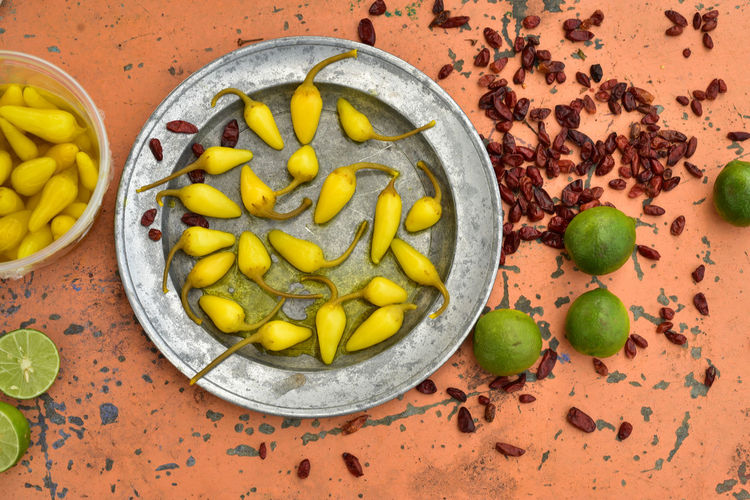 High angle view of chili pepper in plate on table