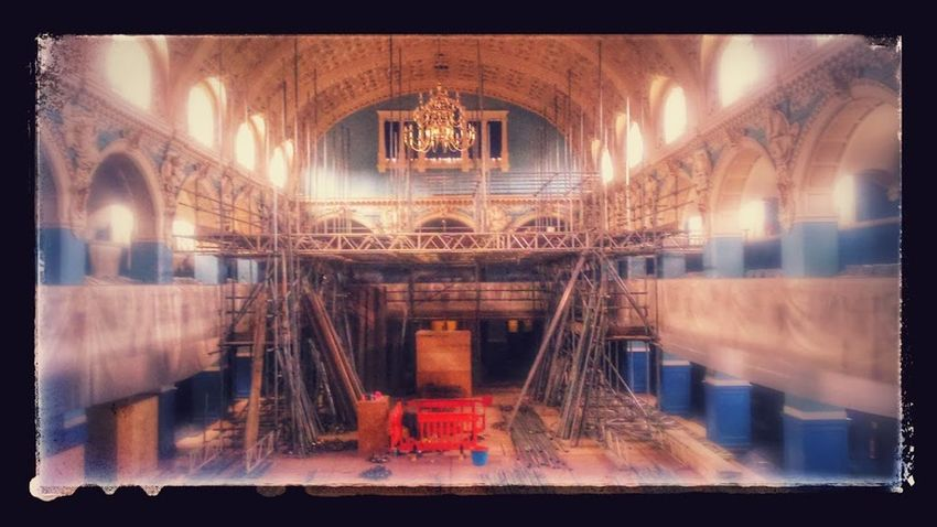 renovation of the main hall Oxford town hall 2015 Architecture Arts Culture And Entertainment Concert Henry Hare Jacobean Main Hall Redecoration Outdoors Oxford Town Hall Refurbishment Renevation Repainting Scaffold Town Hall Victorian Architecture