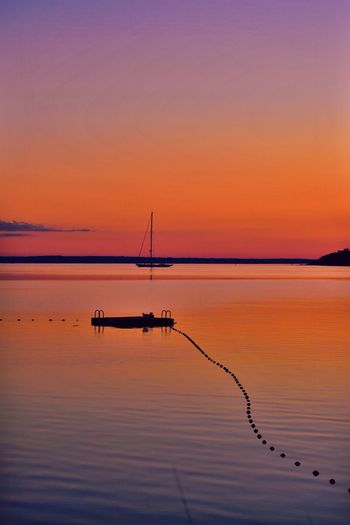 Long Island Sound Fishers Island New York Fishers Island EyeEm Selects Sunset Reflection Beauty In Nature Nature Orange Color Water Sky Tranquility Scenics Silhouette Tranquil Scene Sea Outdoors No People Horizon Over Water