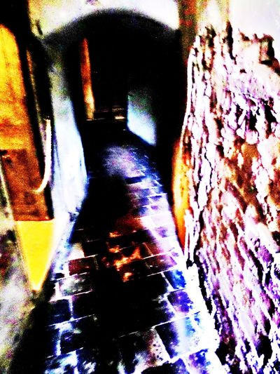 Abstract Blue. Purple Colour. Bricks. Cellar. Close-up Colourful Effect. Flag Stones. Multi Colored No People Past Times. Secret Cellar. Textured  Wine Cellar