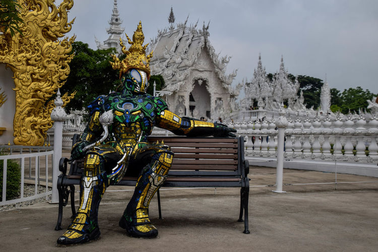 White temple in Chiang Rai, Thaïland Sculpture Whitetemple White Thailand Travel Travel Photography King - Royal Person Statue Royalty Arts Culture And Entertainment Gold Place Of Worship History Multi Colored