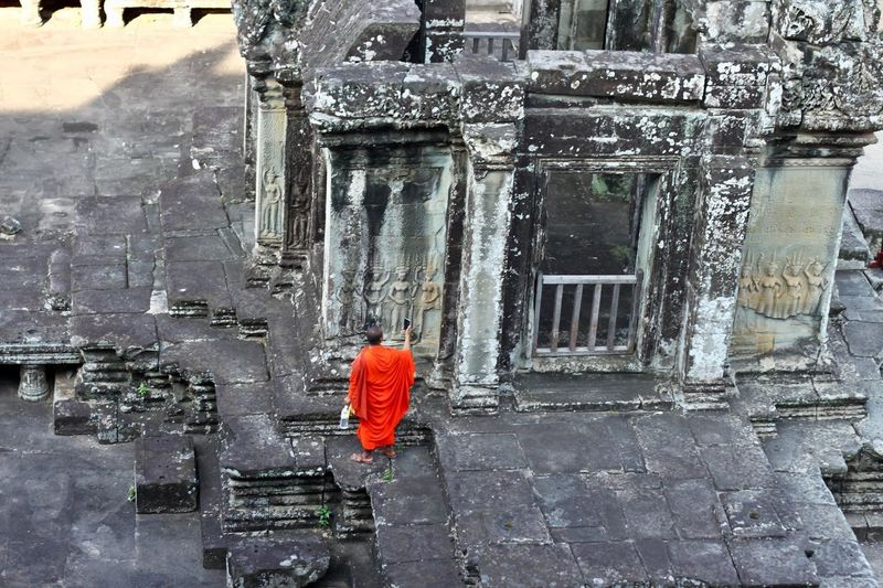 Cambodia ASIA Architecture Built Structure Building Exterior Building Religion Place Of Worship History Spirituality Walking Belief One Person Angkor Wat Angkor Monk  Taking Pictures Travelling Travel Destinations Angkor Wat, Cambodia