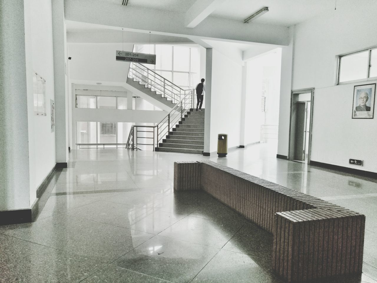 staircase, steps and staircases, railing, steps, architecture, indoors, built structure, stairs, corridor, the way forward, no people, hand rail, day