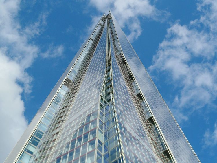 Learn & Shoot: Leading Lines Reflective vanishing point Architecture London Sky Skyscraper Shard London Bridge Famous Place Travel Destinations Capital City Travel Capital Cities  International Landmark Cloud - Sky Blue Sky Tall - High No People