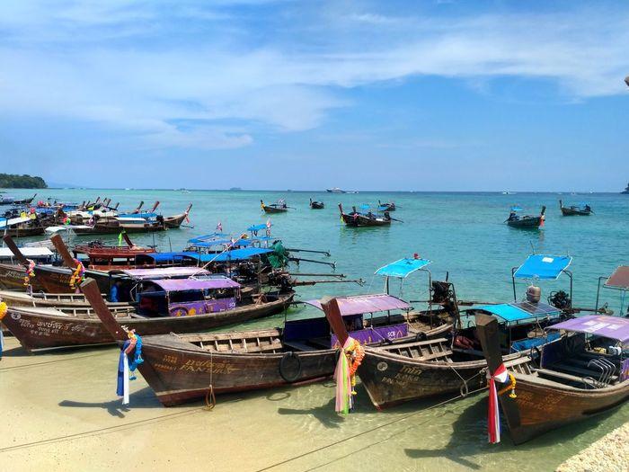 Phiphidon Kohphiphi Longboat Thailand Phiphiisland Water Nautical Vessel Jet Boat Sea Beach Moored Sand Sky Horizon Over Water