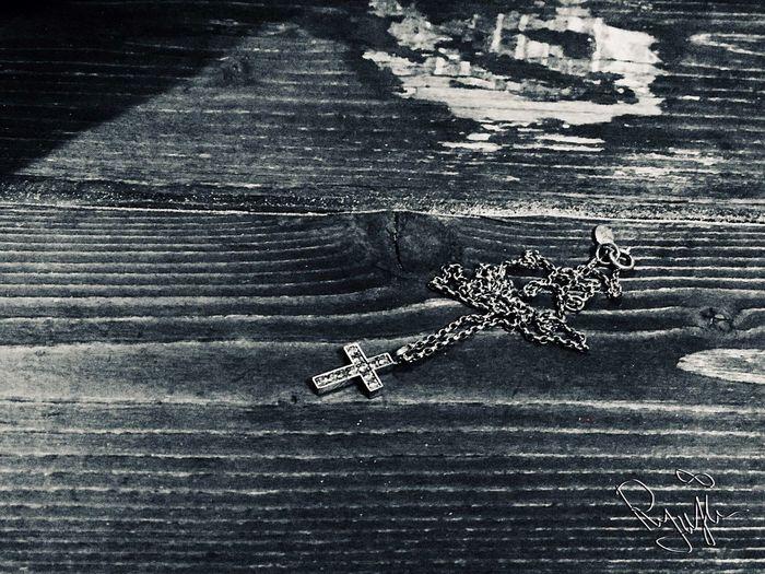 High angle view of metal on table
